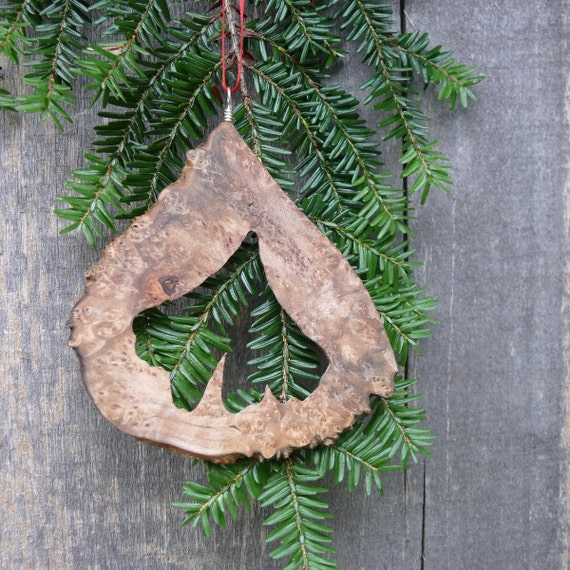 Natural Christmas Tree Ornament, Gingko leaf Ornament, Natural wood ornament, Rustic holiday decor, Eco Country Christmas, Nature Ornaments