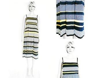 Vintage Dress - 80's Vintage Dress - Summer Dress - Striped - Knee Length - Summer Vintage - Party