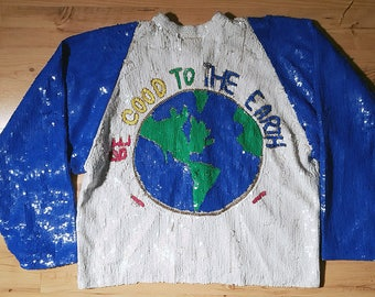 Chanson D'Amour one of a kind vintage silk sequined varsity bomber jacket Be Good to the Earth hippie environmental love and goodness