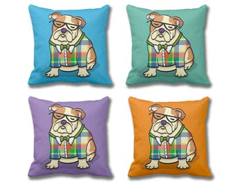 English Bulldog Pillow Cover - (Cover Only, Insert not included) - Choose Background Color