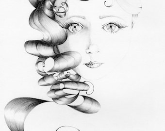 Beauty an Original Drawing, Fine art, Fantasy