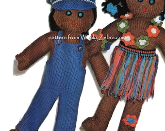 Vintage Knit Rag Doll and Dresses Pattern PDF 519 from WonkyZebra