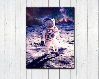 Nebula Moon Walk Print, Space Gifts, Nature Gifts, Outer Space, Astronaut, Black Hole, Nasa Gifts, Photoreal Prints, Vaporwave, Aesthetic