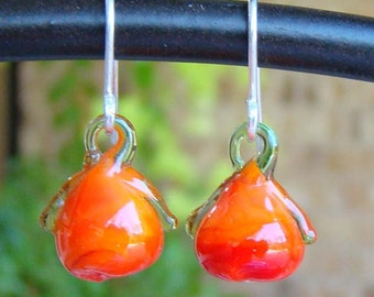 Earrings Fall Turnip Sterling Vintage Glass Fruit & Vedgie Hand Blown