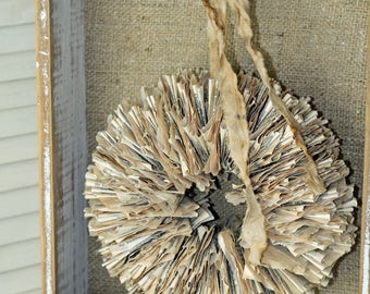 "Wreath Handmade from Vintage Book Pages 10"" Torn Book Page"
