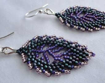 Elven Leaf Earrings in Wildflower - Purple Leaf Earrings - Woodland Fairy Earrings - Fantasy Wedding Earrings - Forest Fantasy Jewelry