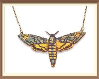 Wooden Death's Head Hawkmoth Necklace Laser Cut / Insect / Acherontia Atropos