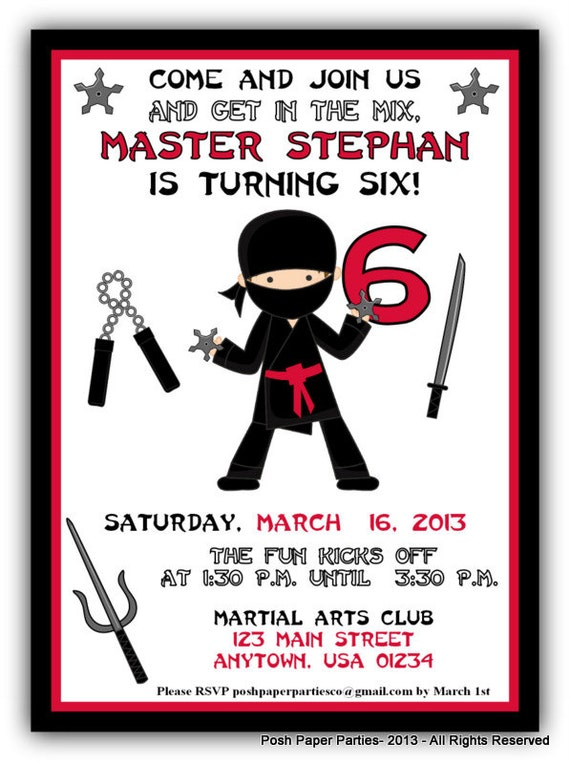 Ninja Birthday Party Invitation Red Black White Boys Ninja