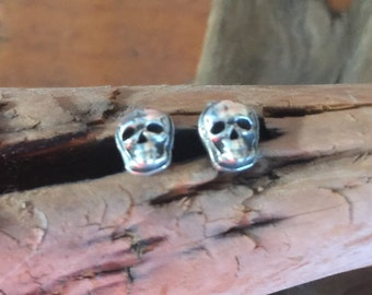 Tiny Full Skull Sterling Silver Southwestern Native Style Earrings