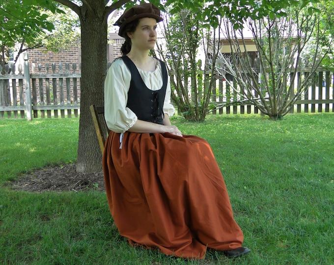 Renaissance Dress SET 3 Piece Costume: Bodice, Chemise & Skirt - Womens Size S, M, L, XL - 6 Colors, Reversible Bodice!