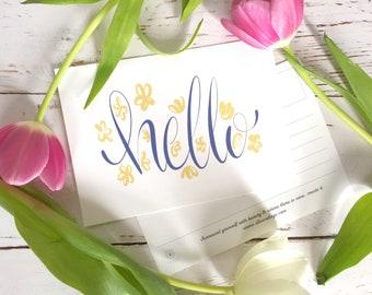 "Floral ""Hello"" Postcard"