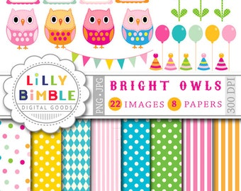 Birthday Owl clipart and digital papers balloons, owls, polka dots, flowers, frames, DIGITAL DOWNLOAD