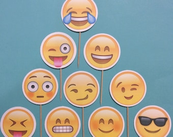 Emoji smiley face inspired Cupcake Toppers Birthday Party Decorations Set of 12