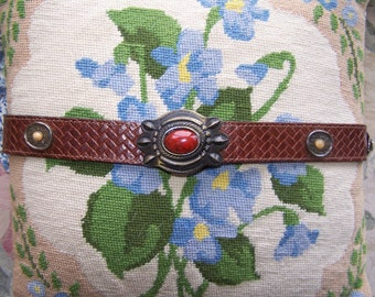 Leather Belt,  Brown Leather Belt,  Leather concho belt,  Braided Leather belt,  Boho brown belt, size M