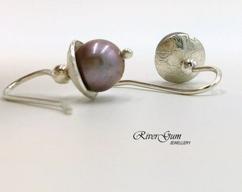 Grey Mauve Freshwater Pearl Earrings, Small Pearl Earrings, Argentium Silver Earwires, Fabricated, Metalwork by RiverGum Jewellery