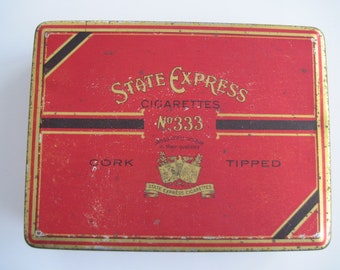 State Express Cork Tipped cigarette tin (100/empty) - c.1930/40