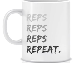 Inspirational mug - Reps - kettlebell - fitness gift - crossfit - WOD - gift for him - gym lover's gift - unique coffee mug - ceramic mug