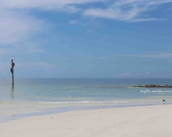 Seaside Photo, Jetty Rocks Beach Photography, Florida Travel Art, Blue Ocean Sand Tropical Coastal House Decor, Nautical Home Decor Wall Art
