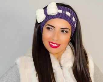 Purple bow headband, womens headband, ribbon headband, crochet bow headband, bow headwrap, headband with bow, winter ear warmer