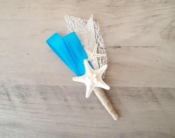 Starfish Beach Boutonniere, Starfish Boutonniere, Beach Wedding