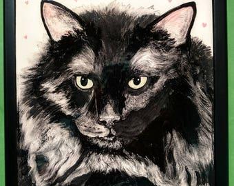 """Cat Portrait Tile 6""""set in Keepsake box lid"""