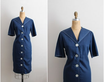 50s Navy Blue Sailor Dress / Nautical Dress / 1950s Dress / Size M/L