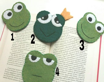 Corner bookmarks made of frogs and frogs felt