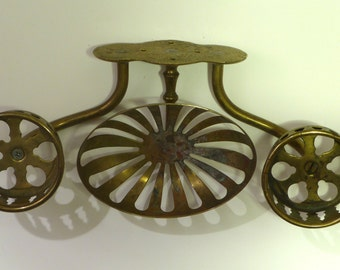 vintage brass soap holder with two cup holders attached
