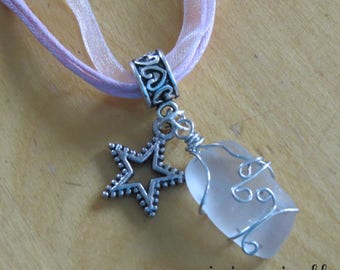 Glass frosted with Silver Star charm necklace