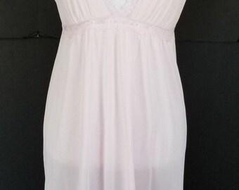Vintage Lingerie Long Pink Gown Lace Detail Texshan Small Nylon