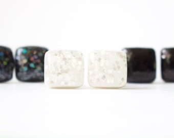 SNOW GLITTER STUDS. Surgical Steel Posts. white studs. white earrings.