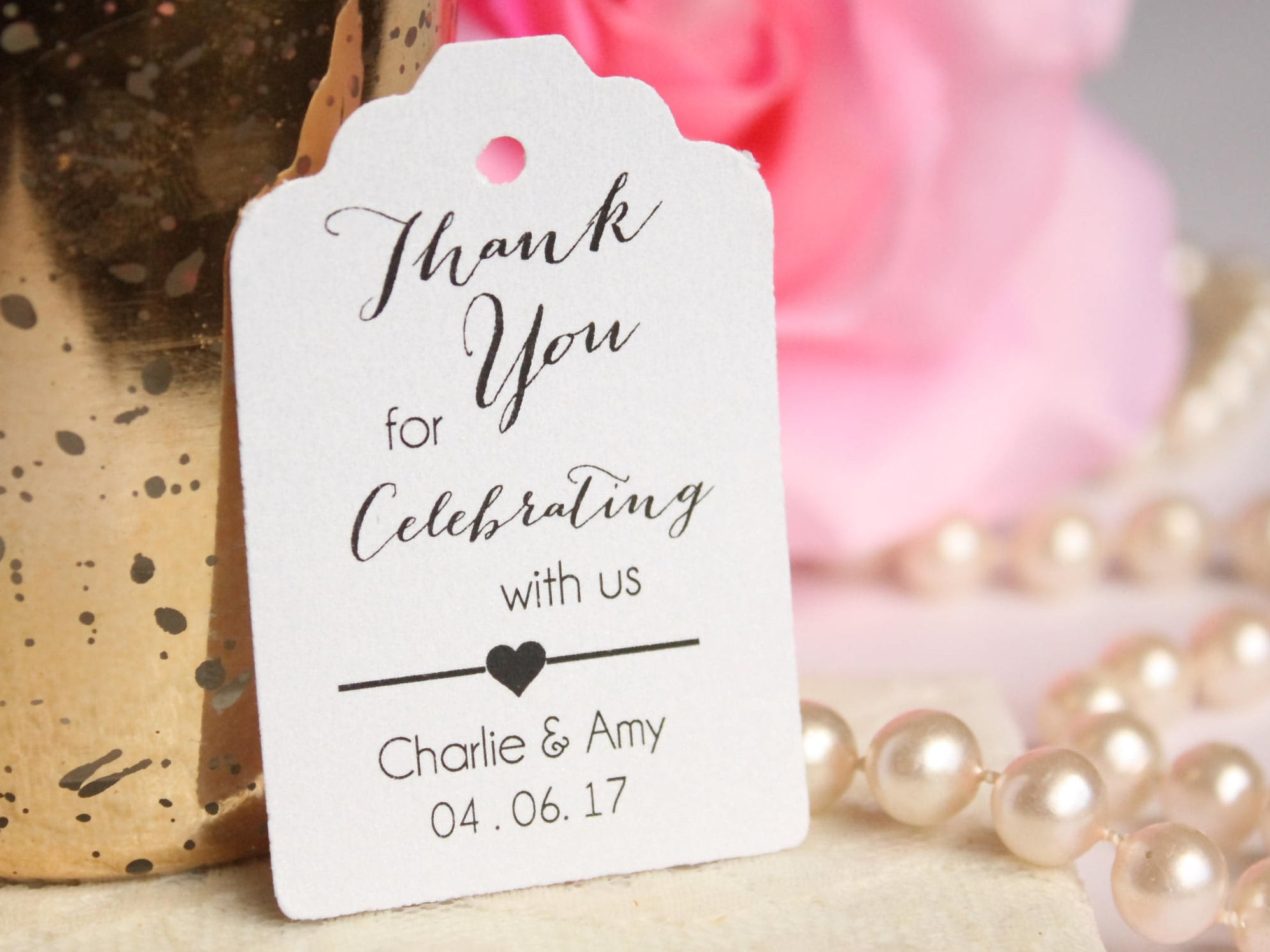 Thank You for Celebrating with Us Wedding Favor Tag Custom