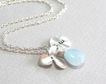 Personalized Initial Necklace - Aquamarine Stone Orchid Necklace, Birthstone,  Gift and Everyday Jewelry, Sterling Silver, Aqua necklace