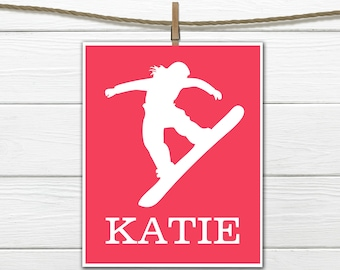 Snowboarder   Sports Silhouette- Girl Snowboarding  - Custom Print -  Personalized