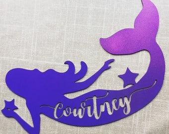 Personalized Mermaid Cutout - Mermaid birthday Party Photo Prop - glitter tail mermaid - custom name sign - girls room decor