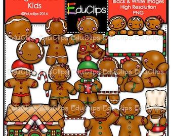 Gingerbread Kids Clip Art Bundle