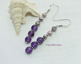 Amethyst and Pearl Earrings. Amethyst Birthstone Jewellery.  February Birthstone. Purple Earrings. 6th Wedding Anniversary Gift A0066