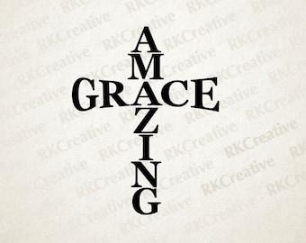 Amazing Grace svg file, vector file, cut file, silhouette, vinyl cut file, cross decal, religious, spiritual design