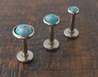 "16G 6mm 1/4"" 3,4 or 5mm Ocean Coral Internally Threaded Triple Forward Helix Cartilage Opal  Labret Monroe Tragus Stud Earrings"