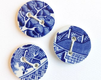 Blue Willow Buttons, Set of 3, Knitting, Sewing, Crafts, Gift for Knitter, Buttons, Broken China Button, Handmade Buttons, Sew On Buttons