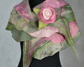 Felted Scarf  Women Nuno Felted  Scarf Wool and Silk Hand Made Spring Scarf Pink Rose Flowering