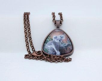 Koala Bear Triangle Pendant Necklace, Vintage Copper, Photography, Photo Jewelry