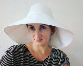 White linen sunset hat, Sun hat, travel hat, summer hat, white summer hat, wide brimmed summer hat, cotton sunhat, beach wear, Active style