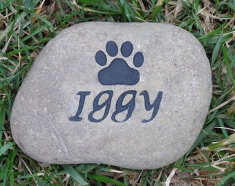 Personalized Pet Memorial Stone, Gifts, Dog Memorial, Cat Memorials, Garden Stone, Memorial Burial Stone, Grave Marker 3-4 Inch Any Pet
