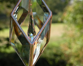 3D Stained Glass Beveled Suncatcher with Swarovski crystal prism hanging inside