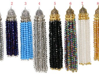 Lovely Bead Handmade Crystal Tassels with Oval Lead Free Pewter End Caps (3.5 & 3.0 Inches Long)