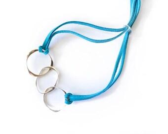 Ring Bracelet, silver bracelet, silver link bracelet, link bracelet, handmade jewellery, modern bracelet, adjustable bracelet, gifts for her