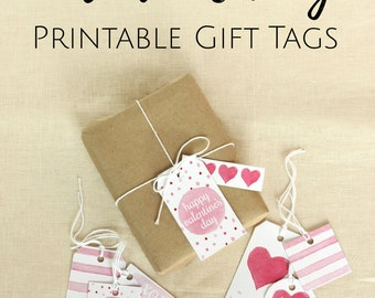Valentine's Day Gift Tags, Printable Gift Tags, Favor Tag, Watercolor Hearts, Printable Valentine, Happy Valentines Day, Valentines Heart