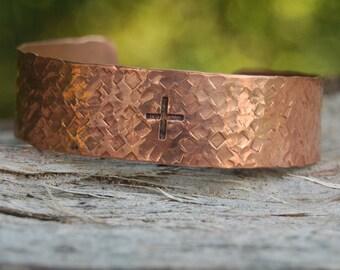 Hand Hammered Artisan Copper Cuff, Brass Cuff, Silver Cuff