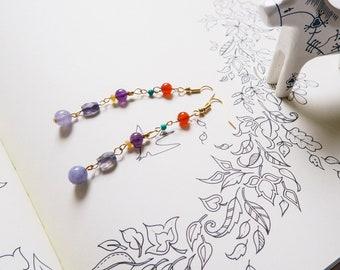 Multi colour, gemstone beaded, dangle drop earrings, boho, beach, Aquamarine, Iorite, Orange Quartz, Amethyst, Turquoise and Carnelian